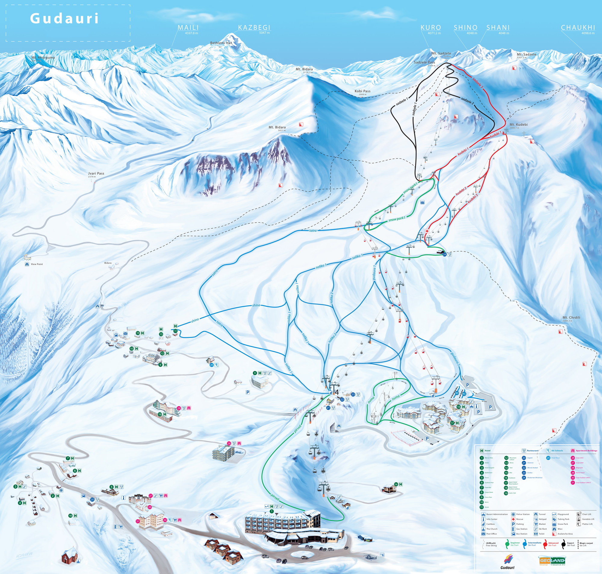 Gudauri Piste and ski lifts map of Gudauri